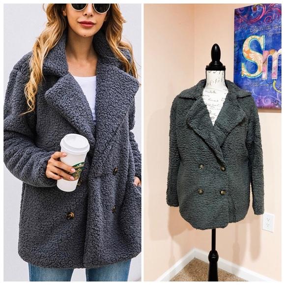 Jackets & Blazers - CLEARANCE‼️GREY faux fur Sherpa LAPEL COAT- Jacket
